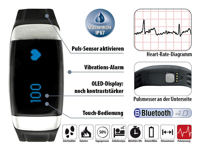 ; Fitness-Armbänder mit Bluetooth