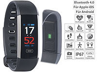 newgen medicals Fitness-Armband mit Farbdisplay, Blutdruck-Anzeige, Bluetooth, IP67; Fitness-Armbänder mit Bluetooth Fitness-Armbänder mit Bluetooth Fitness-Armbänder mit Bluetooth Fitness-Armbänder mit Bluetooth