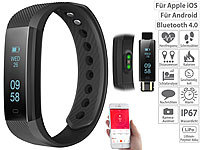 newgen medicals Fitness-Armband m. Bluetooth, Benachrichtigung, Pulsmesser, OLED, IP67; Fitness-Armbänder mit Bluetooth Fitness-Armbänder mit Bluetooth Fitness-Armbänder mit Bluetooth Fitness-Armbänder mit Bluetooth