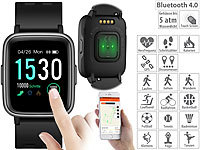 newgen medicals Fitness-Uhr, Touch-Screen & Herzfrequenz-Anzeige, Bluetooth, 5 atm