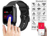 newgen medicals Fitness-Armband mit Glas-Touchscreen-Display, SpO2-Anzeige, App, IP68